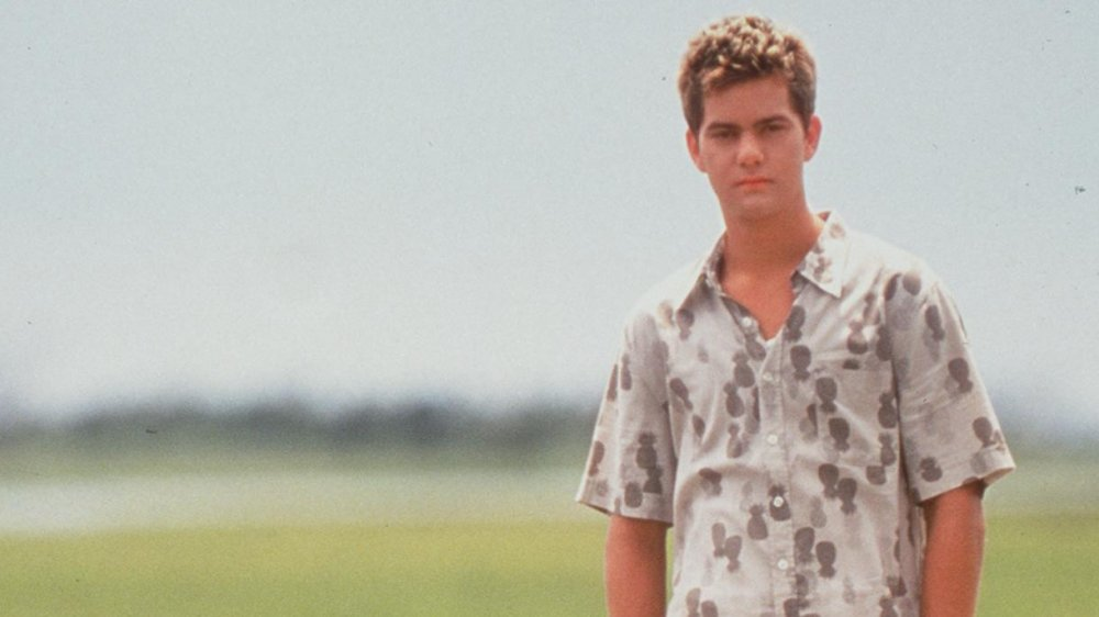 Young Joshua Jackson in a grey button up