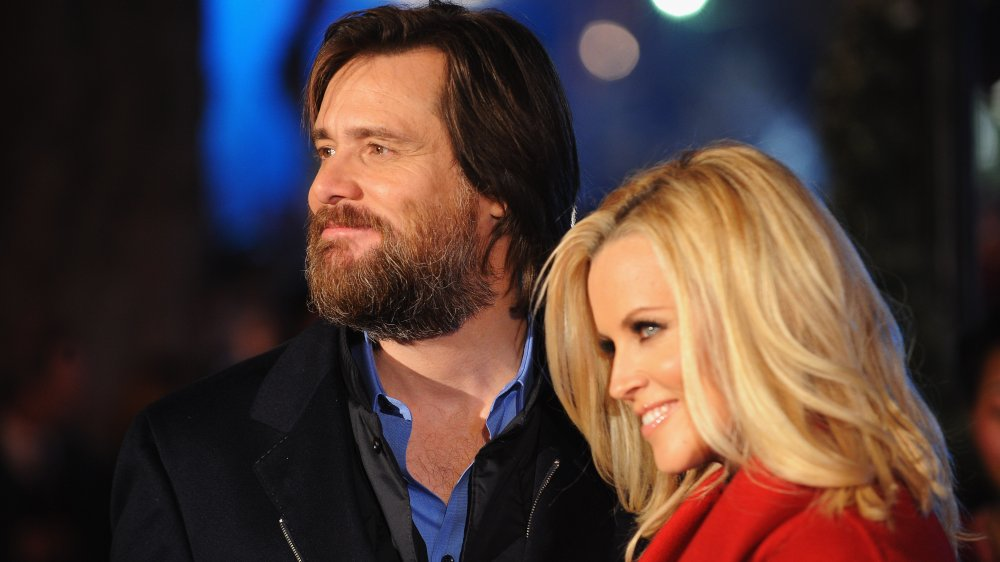 Jim Carrey and Jenny McCarthy at the premiere of Disney's A Christmas Carol