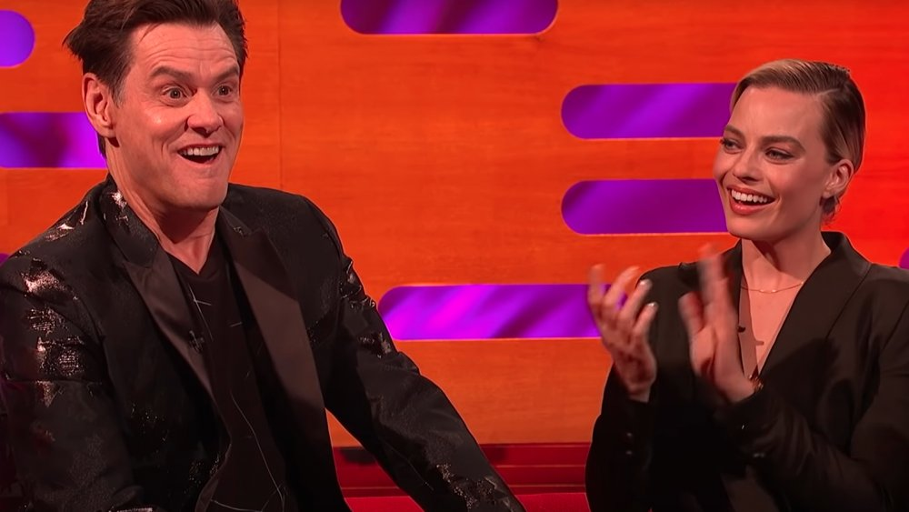 Jim Carrey and Margot Robbie on an episode of The Graham Norton Show