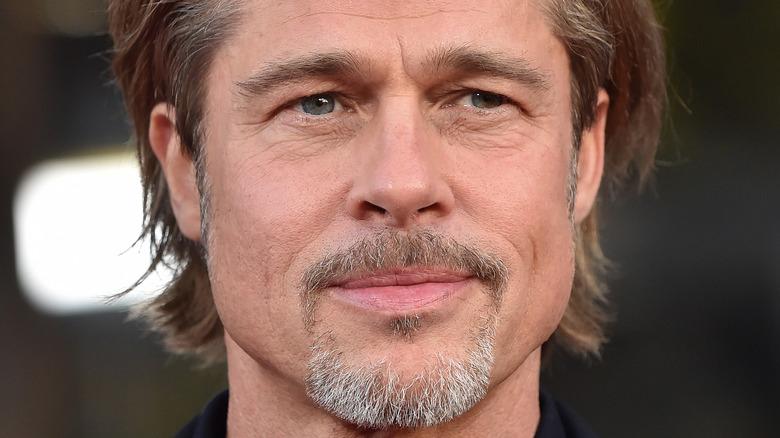 Brad Pitt con una barba trasandata e grigia che sorride
