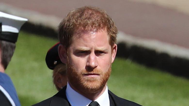 Il principe Harry al funerale del principe Filippo