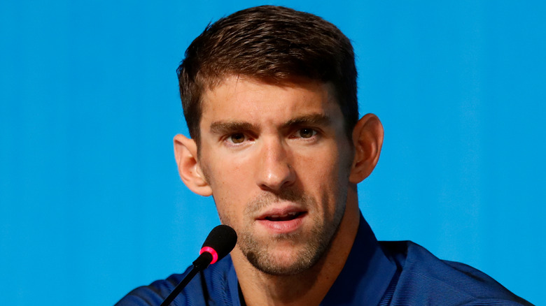 Michael Phelps in conferenza stampa
